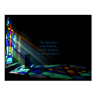 Stained Glass Window Light Through A Church Postcard