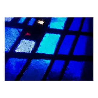 Stained Glass Window Shades of blue Poster Artwork