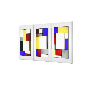 Stained Glass Window Tryptych Theo Van Doesburg Gallery Wrap Canvas
