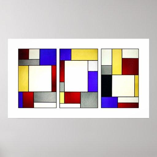 Stained Glass Window Tryptych Theo Van Doesburg Print