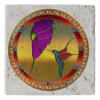 Stained Glass Window Turquoise Hummingbird Trivet