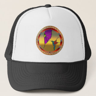 Stained Glass Window Turquoise Hummingbird Trucker Hat