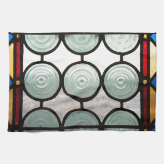 Stained glass windows circles tea towel