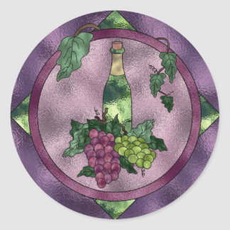 Stained Glass Wine Love Round Sticker