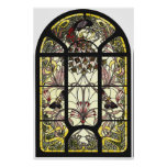 Stained Glass with Peacock and Butterflies Poster