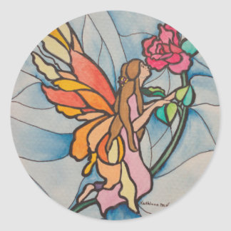 Stained glasssrose fairy classic round sticker