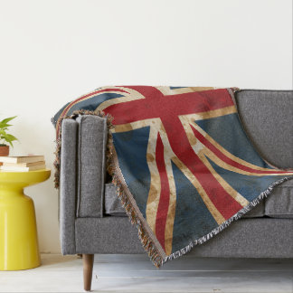 Stained Grunge Union Jack UK Flag Throw Blanket