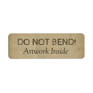 Stained Grungy Do Not Bend Artwork Warning Brown Return Address Label