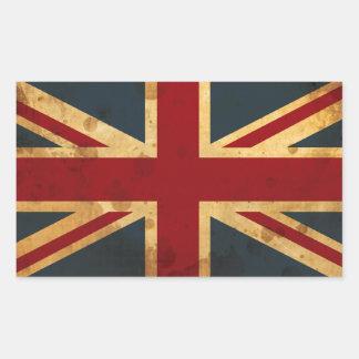 Stained Union Jack UK Flag Rectangular Sticker
