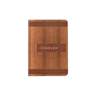 Stained Wood Look Passport Holder