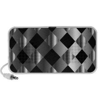 stainless steel background travelling speaker