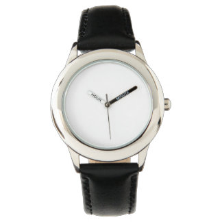 Stainless Steel Black Leather Strap Watch