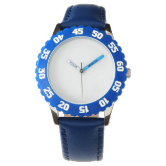 Stainless Steel Blue Watch With Adjustable Bezel