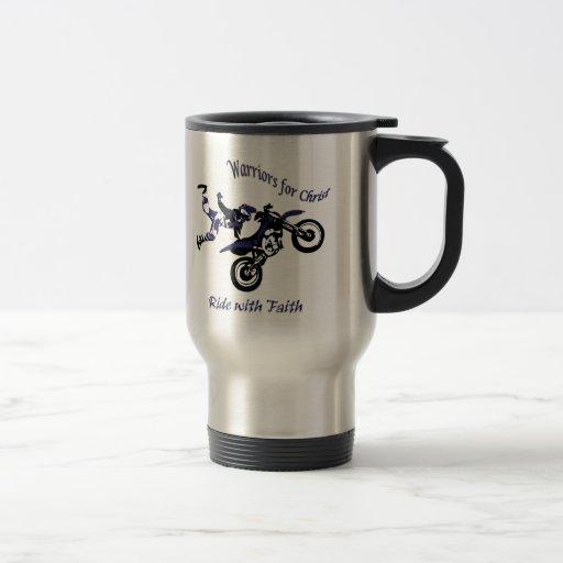 Stainless steel Coffee mug, Ride with Faith