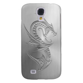Stainless Steel Effect Dragon Graphic Galaxy S4 Cover