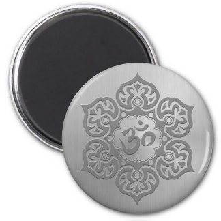 Stainless Steel Effect Floral Aum Graphic Magnet