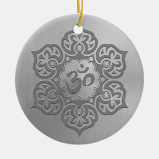Stainless Steel Effect Floral Aum Graphic Round Ceramic Decoration