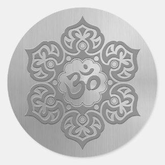 Stainless Steel Effect Floral Aum Graphic Round Sticker