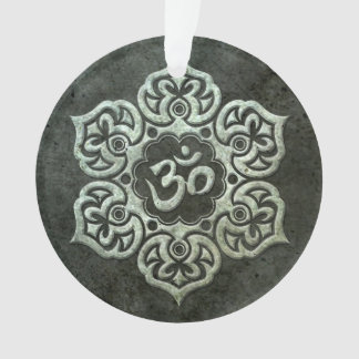 Stainless Steel Effect Floral Om Graphic