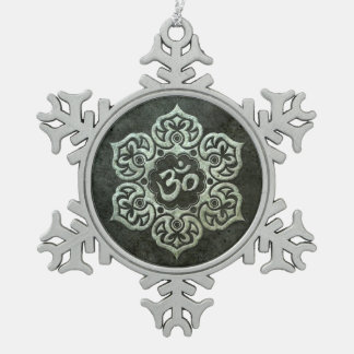 Stainless Steel Effect Floral Om Graphic Pewter Snowflake Decoration