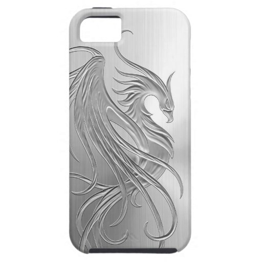 Stainless Steel Effect Phoenix Graphic Case For The iPhone 5