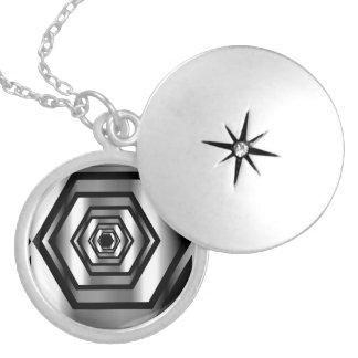Stainless steel hexagon locket necklace