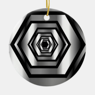 Stainless steel hexagon round ceramic decoration
