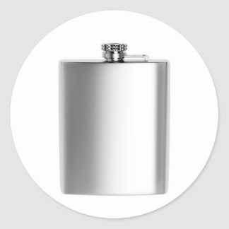 Stainless steel hip flask classic round sticker