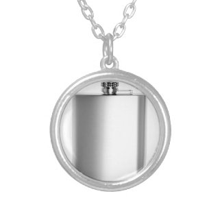 Stainless steel hip flask silver plated necklace
