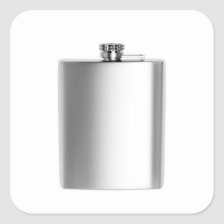 Stainless steel hip flask square sticker