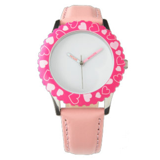 Stainless Steel Pink Heart Watch, Adjustable Bezel Watch