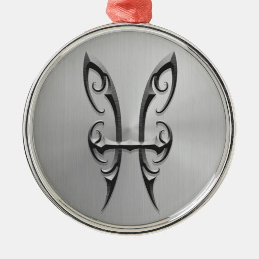 Stainless Steel Pisces Symbol Christmas Ornament