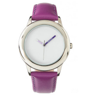 Stainless Steel Purple Leather Strap Watch