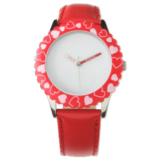 Stainless Steel Red Hearts Watch, Adjustable Bezel Wristwatch