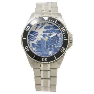 Stainless steel watch with Blue Willow face