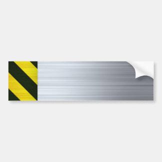 Stainless Steel with Hazard Stripes Bumper Sticker