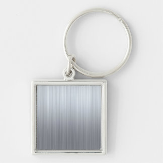 Stainless Steel with Hazard Stripes Silver-Colored Square Key Ring