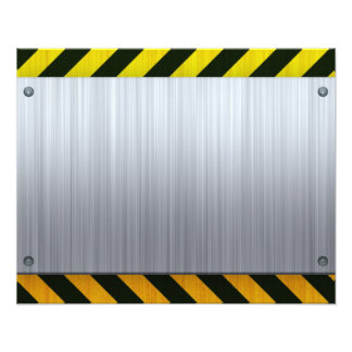 Stainless Steel with Hazard Stripes Photographic Print