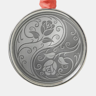 Stainless Steel Yin Yang Roses Silver-Colored Round Decoration