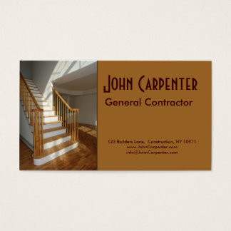 Staircase in new construction home business card