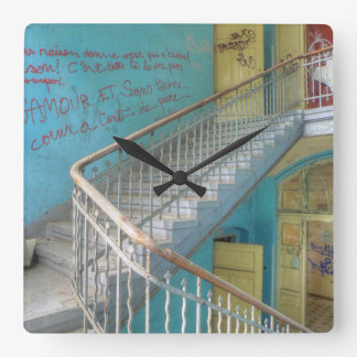 Stairs 01.0.2, Lost Places, Beelitz Square Wall Clock