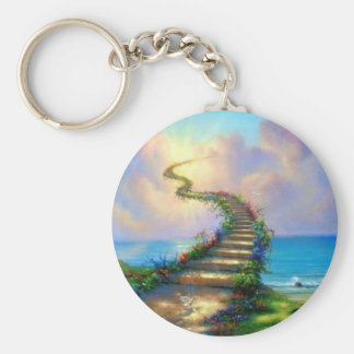 Stairway to Heaven Basic Round Button Key Ring