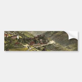 Stalden, railway station and hotel, Valais, Alps o Bumper Sticker