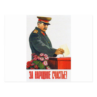 STALIN POSTER ART POSTCARD