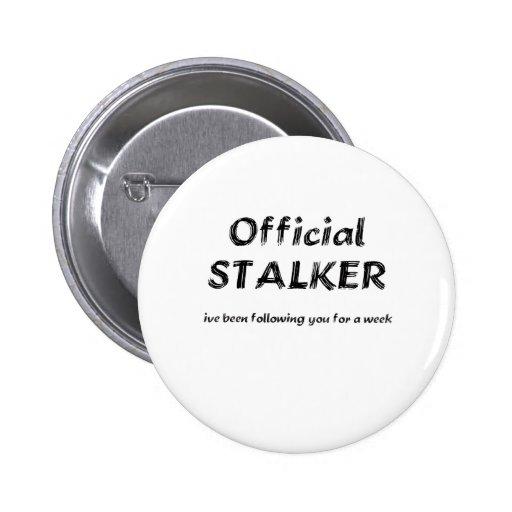 stalker black pinback button