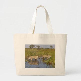 Stalking Lions Large Tote Bag