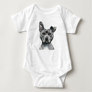 Stalky Pit Bull Dog Drawing Baby Bodysuit