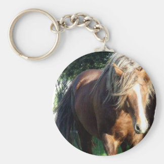 Stallion Horse Rough Basic Round Button Key Ring