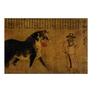 Stallion with Groom Poster