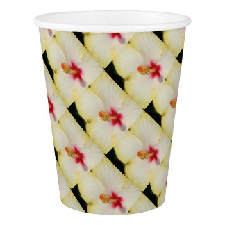 Stamen With Yellow Hibiscus Petal Background Paper Cup